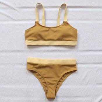 INGAGA High Waist Bikinis Swimsuits Bandeau Swimwear Women Splicing Biquini Beachwear Sports Ribbed Bathing Suits New 10