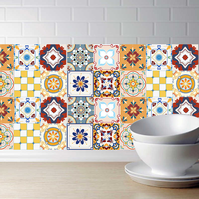Mediterranean Decorative Tile Sticker for Kitchen Wall Stickers Waterproof Bathroom Stickers,DIY Self Adhesive PVC Art Decor