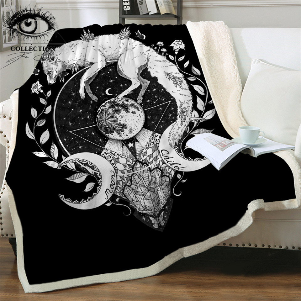 Wolf Galaxy by Pixie Cold Art Bed Blankets Moon Child Galaxy Plush Bedspread White Fox Throw Blanket Planet Black Linen Blanket(China)