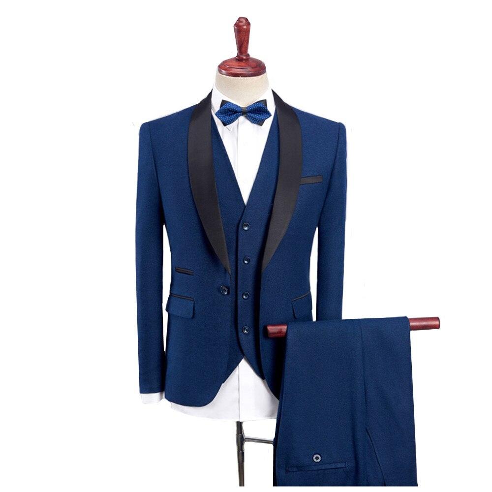 (Blazer+Vest+Pants) Royal Blue Suit Male 3 Piece Business Casual Formal Wedding Suit Wine Red Slim Fit Wedding Tuxedos Men 4XL