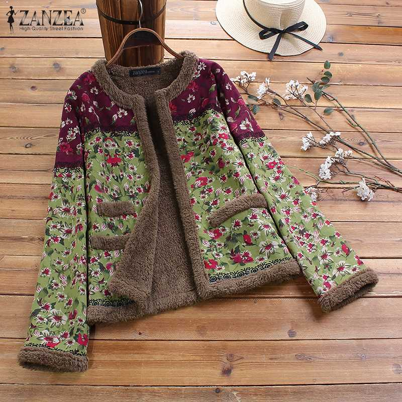 Vintage Open Front Plush Fluffy Coats ZANZEA Winter Floral Printed Jackets Women Long Sleeve Outwear Female Overcoat Chaqueta