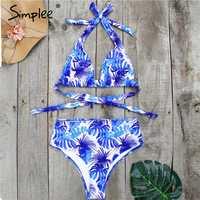Simplee Floral print bikini micro V-neck polka dot high waist female swimsuit Halter plus size swimwear women biquini Summer