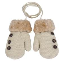Kawaii Baby Boy Leaf Girl Keep Warm GloveK Solid color kids winter gloves cute mittens for kids 2020 manoplas invierno(China)