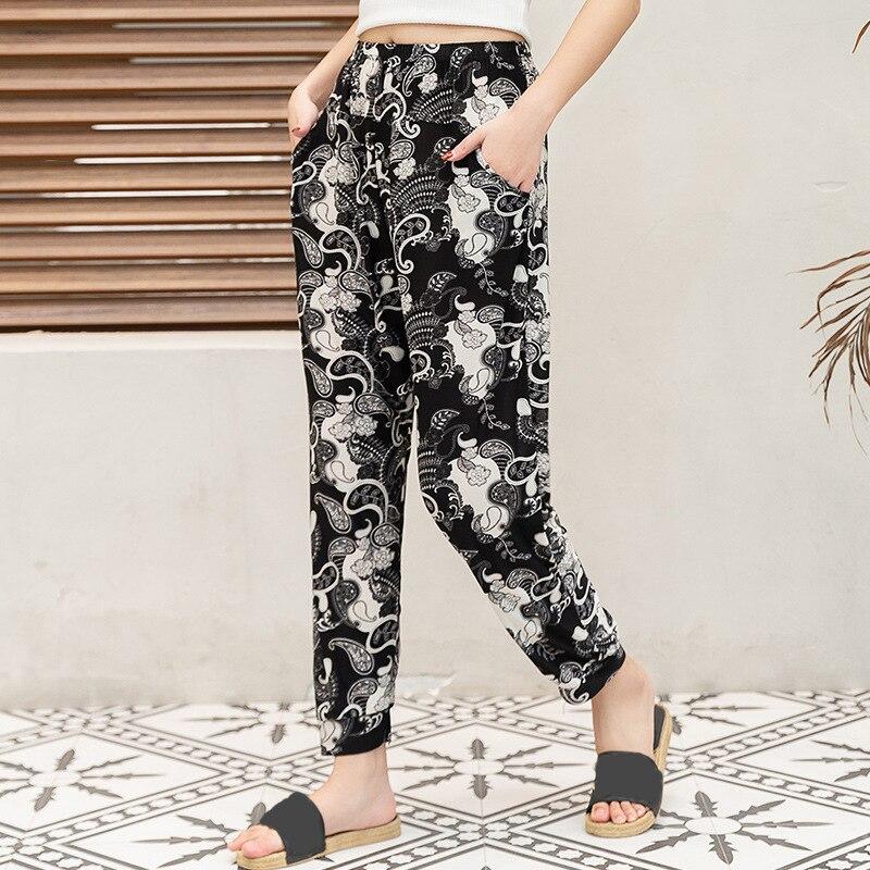 Women Pans 2020 Summer Autumn Casual Floral Printed Pants Elastic Waist Thin Pencil Pants Elegant Trousers Pantalon Femme