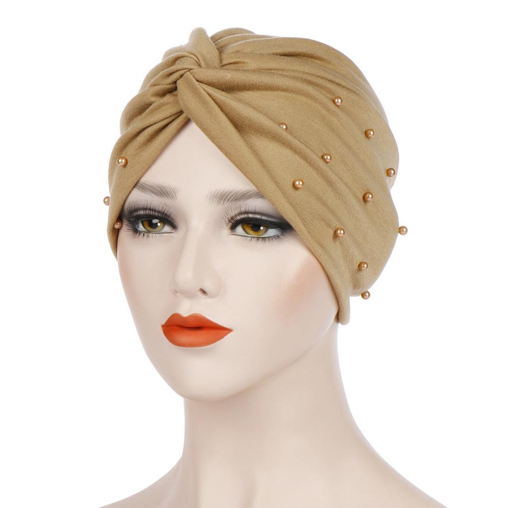 Muslim Beading Hijab Scarf  Women Twist Turban Cap Turbante Mujer India Head Wrap Scarf Stretch Beanie Bonnet Chemo Turbans