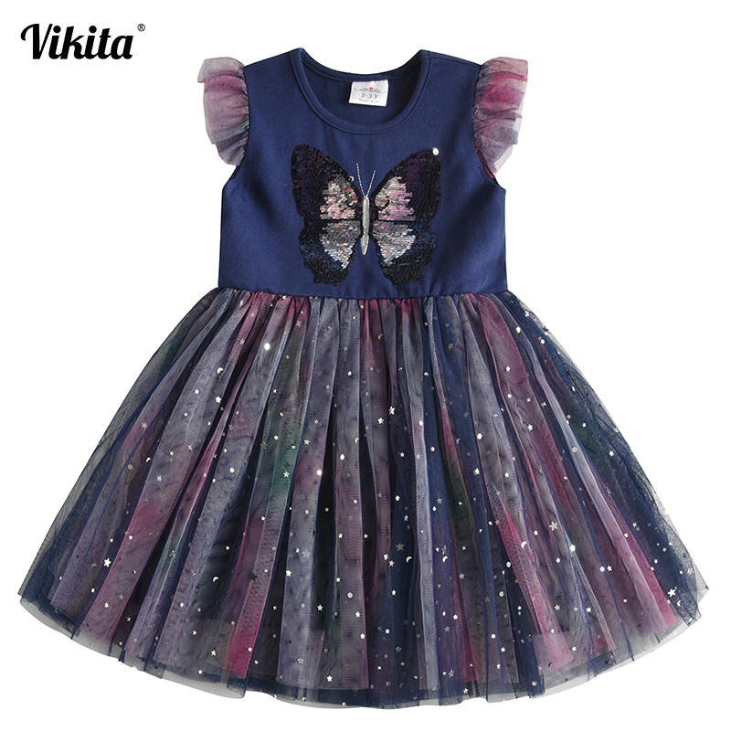 VIKITA Toddlers Summer Tulle Vestidos Girls Butterfly Dress Kids Cartoon Dress For Girls Star Heart Licorne Tutu Dresses