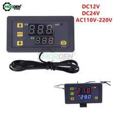 Controlador de temperatura digital w3230 dc 12v 24v 110v, faixa de temperatura precisão da temperatura do controlador sensor ntc