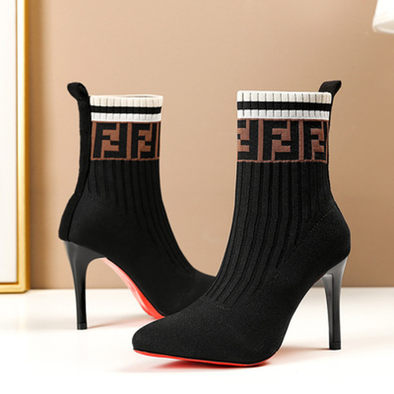 2022 New Sexy Knitting Boots for Woman Black Pointed Toe High Heels Sock Boots Spring Autumn Splip on Stretch Boots