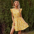 Fashion Summer Ruffled Floral Short Mini Dress Yellow Print Casual Clothes For Women 2021 Ladies Dresses Female Woman
