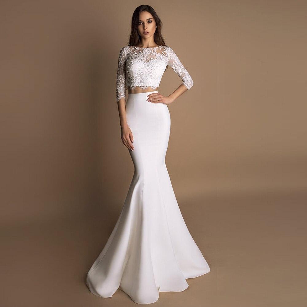 Vestido De Noiva Sereia 2019 Half Sleeve Beading Lace Satin 2 In 1 Mermaid Wedding Dresses Aliexpress Login Matrimonio