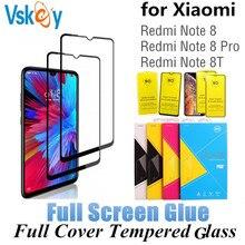 100 sztuk 2.5D pełny klej szkło hartowane dla Xiaomi Redmi uwaga 8 Pro 8T K30 pełna pokrywa Screen Protector folia ochronna