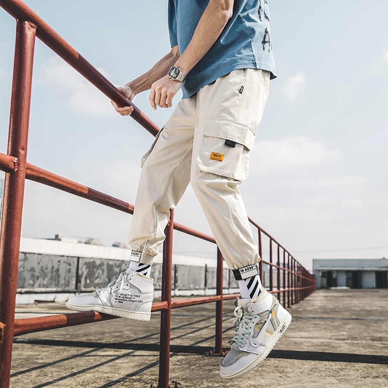 Streetwear 힙합 카고 바지 남성 조깅 바지 멀티 포켓 화이트 바지 하라주쿠 스포츠 캐주얼 트레이닝 복