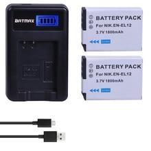 Batmax – batterie EN EL12 1800, EN-EL12 mAh, avec chargeur USB LCD, pour Nikon Coolpix S9700 S9500 S9400 S9300 S9100 S8200 S8100