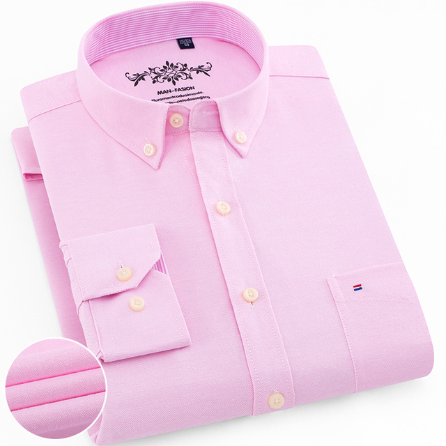 Men's Plus Size Casual Solid Oxford Dress Shirt Single Patch Pocket Long Sleeve Regular-fit Button-down Thick Shirts 10