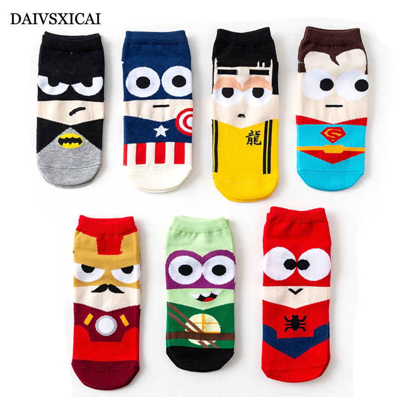 5Pairs/lot=10pieces Summer Cute Cartoon Mens Boat Socks Fashion Breathable Invisible Male Cotton Socks
