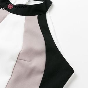 Image 4 - Conmoto Women Casual Patchwork Loose Long Holiday Beach Dress Female Halter Sleeveless Sashes Dress Ladies Plus Size Vestidos