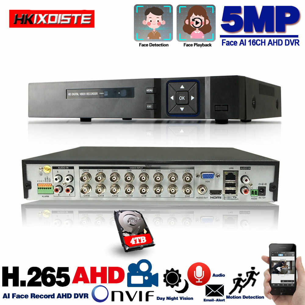 16 kanal AHD DVR 5MP 16CH AHD/CVI/TVI DVR 2592*1944 5MP CCTV Video kaydedici hibrid DVR NVR HVR 6 In 1 Alarm güvenlik sistemi