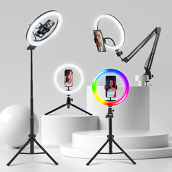 FIJ Selfie Ring Light Photography Light Led Rim Of Lamp With Mobile Holder Large Tripod Stand For Youtube RGB Tok Ringlight