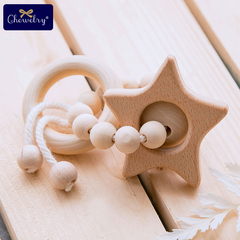 1pc Baby Toys Wooden Beads Nursing Bracelets Beech Wooden Pendents Rodents Teething Rings Baby Wood Rattles Children's Products