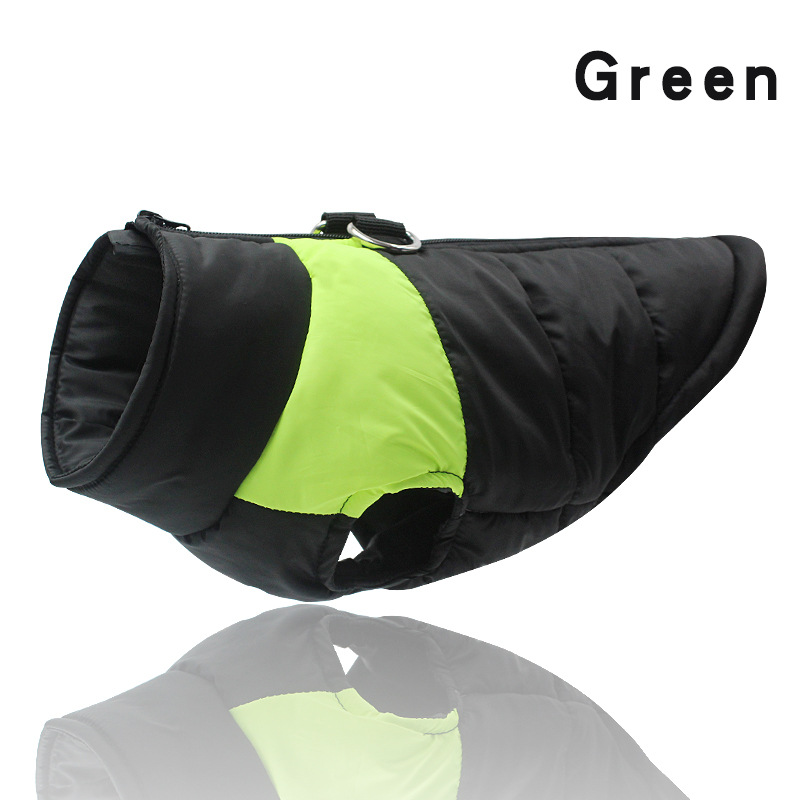 Bright Green-Winter Warm Dog Clothes Waterproof Pet Padded Vest Zipper Jacket Coat For Small Medium Large Dogs