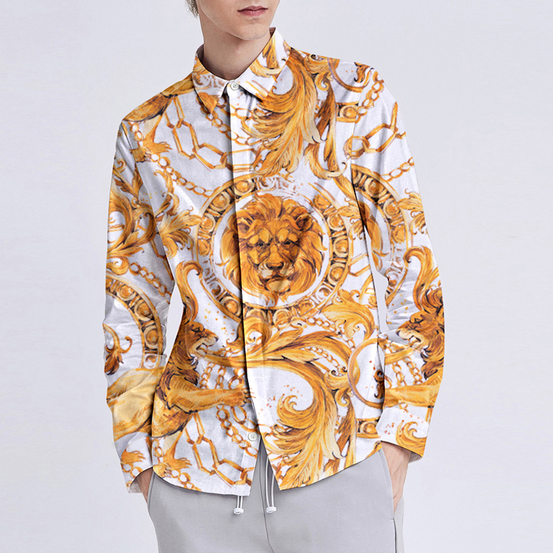 3D National Style Lion Head Palace Printed Shirt Men Brand New Mens Dress Shirts Casual Business Slim Fit Graphic M-XXL
