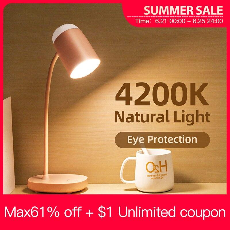 YAGE Lámpara LED de escritorio con protección ocular, batería recargable de 3600mAh, 3 modos de iluminación, brillo, Aprendizaje por USB, luz de noche de mesa táctil