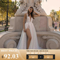 Smileven Wedding Dresses A line 2019 sparkling Lace Spaghetti Straps Side Split Beach Bride Dresses vestido de casamento Boho