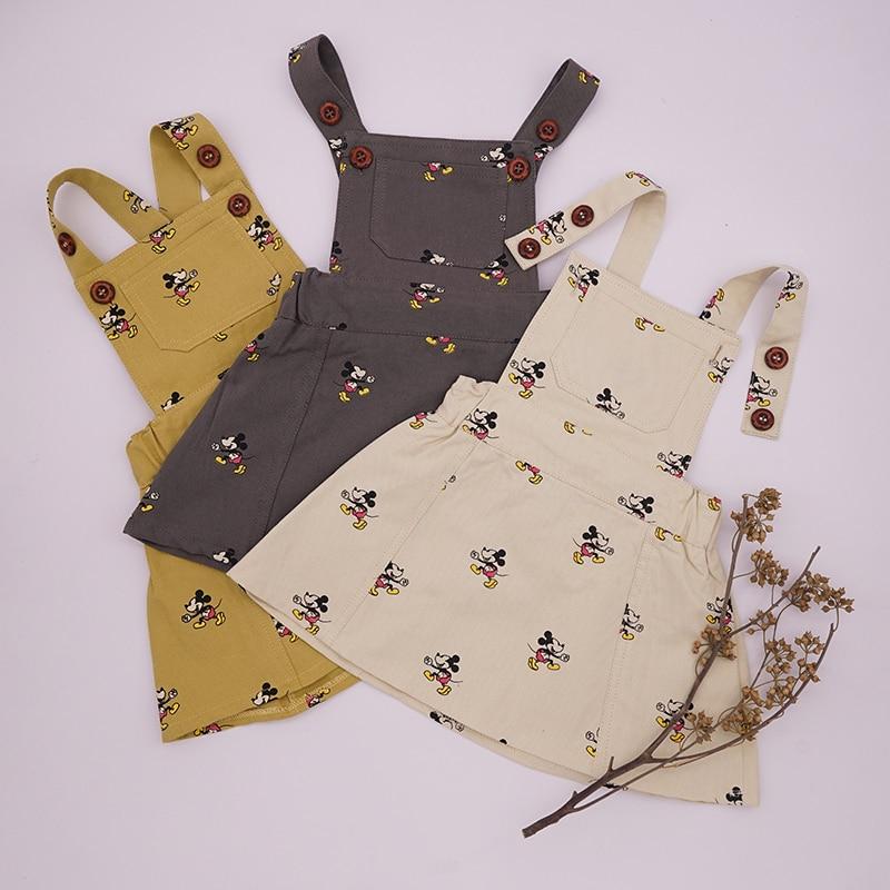 Disney Fashion Brand Summer Strap Dress Korean Mickey Minnie Print Casual Cute Retro Dress Baby Kids Girls Solid Overall Clothes