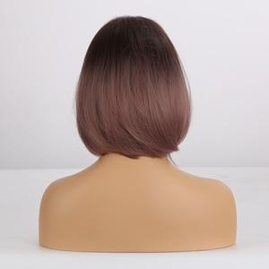 Image 3 - EASIHAIR pelucas sintéticas degradadas para mujer, pelo corto marrón, Bob, peluca de fibra de alta temperatura, Cosplay, cabello Natural diario, Bob