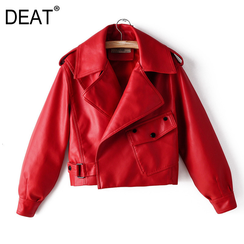 DEAT 2020 Spring New Products Fashion Retro Lapel Long Sleeve Short PU Leather Washed Leather Jacket PA785