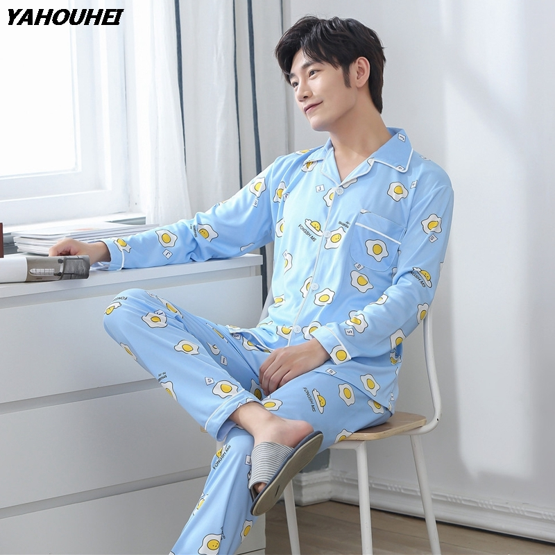 Cotton Casual Pajamas Sets For Men 2018 Autumn Winter Long Sleeve Soft Comfortable Pyjama Male Homewear Lounge Wear Home Clothes
