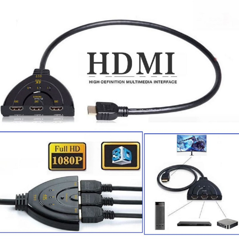 HDMI Splitter 3 Ports Switch Cable DVD HDTV 3 In 1 Port Hub HDMI Switch Adapater Durable