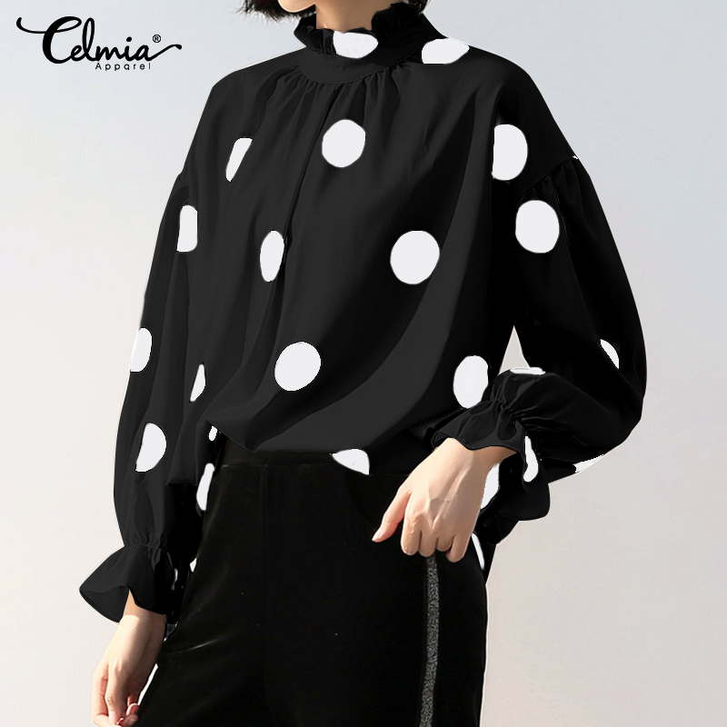 Celmia Fashion Blouses Women Stand Collar Lantern Sleeve Elegant Office OL Shirt Plus Size Tunic Tops Vintage Polka Dot Blusas 7