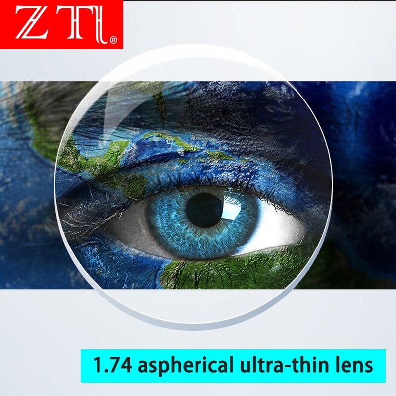 ZT 1.74 haute indice Ultra mince lentilles HMC asphérique Anti UV400 myopie clair optique Prescription lentille personnalisée non coupée