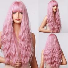 Генри MARGU длинные волнистые розовый эффектом деграде (переход от темного к синтетические парики с челкой парики из натуральных волос для Дл...