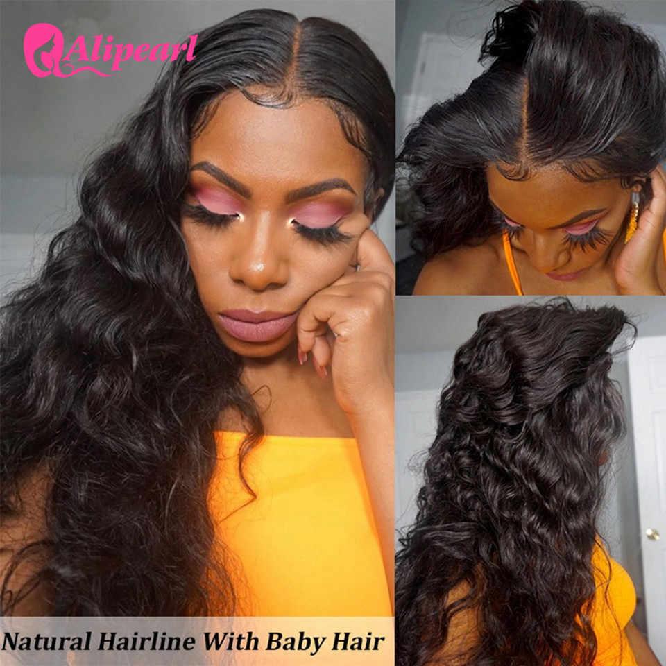 6x6 fechamento peruca brasileira solta onda profunda do laço frente perucas de cabelo humano para as mulheres pré arrancadas 150 180 densidade alipearl perucas de cabelo