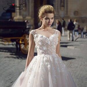 Image 3 - Baziingaa luxo vestido de casamento de seda organza apliques com decote em v sem mangas renda vestido de casamento suporte sob medida feito