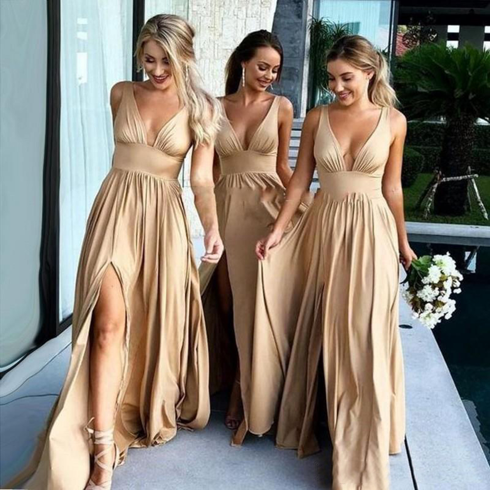 2019 Sexy Long   Bridesmaid     Dresses   Deep V Neck Empire Split Side Elastic Silk Like Satin Maid Of Honor   Bridesmaids     Dress   Gowns
