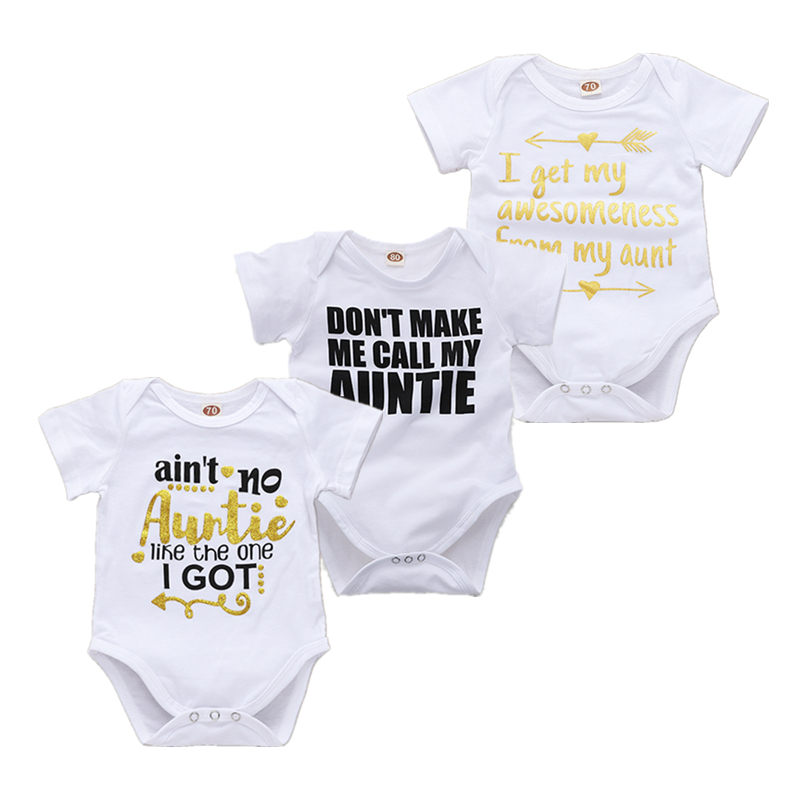 Newborn Baby Bodysuit Short Sleeve Baby Boy Girl Clothes Funny Auntie Uncle Tiny Cottons Baby White Onesie 0-18M