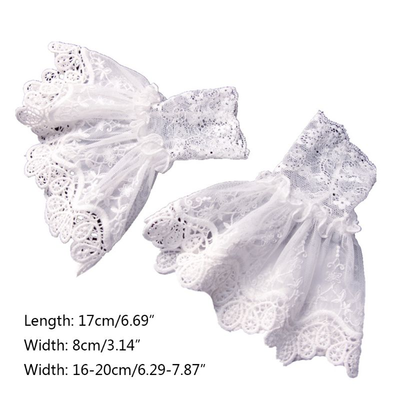 Female Sweater Fake Sleeves Hollow Crochet Lace Ruffles Horn Cuffs Wrist Warmers 449F