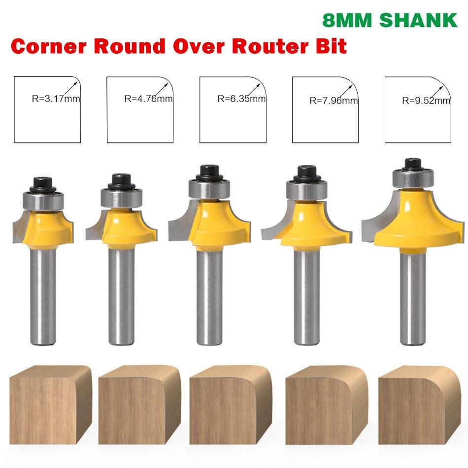 1PC 8mm Shank Corner Round Over Edging Wood Router Bit 2 Flute Corner Round Cove Box Bit Woodworking Tenon Cutter Tool|Milling Cutter|   - AliExpress