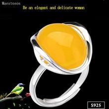 Maestosos 925 Silver Rings for Women Yellow Topaz Agate Stone Ring Pure 925 Sterling Silver Rings for Women Jewelry Size Adjuste