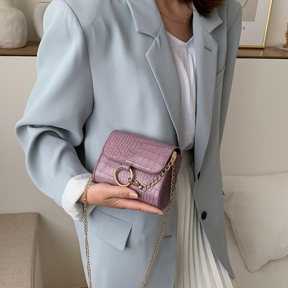 Fashion Leather Chain Solid Alligator Pattern Messenger Shoulder Clutch PU Leather Female Shoulder Crossbody Bags