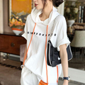 Summer Fashion Women Short Sleeve Loose T-shirt All-matched Casual Hooded Tee Shirt Femme Letter Print Tops 100% Cotton S823