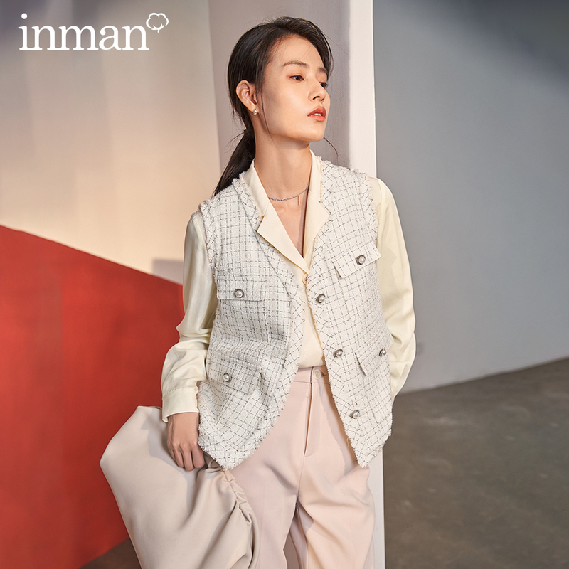 INMAN 2020 Spring New Arrival Literary Personality V-line Collar Pockets Single-breasted Check Vest