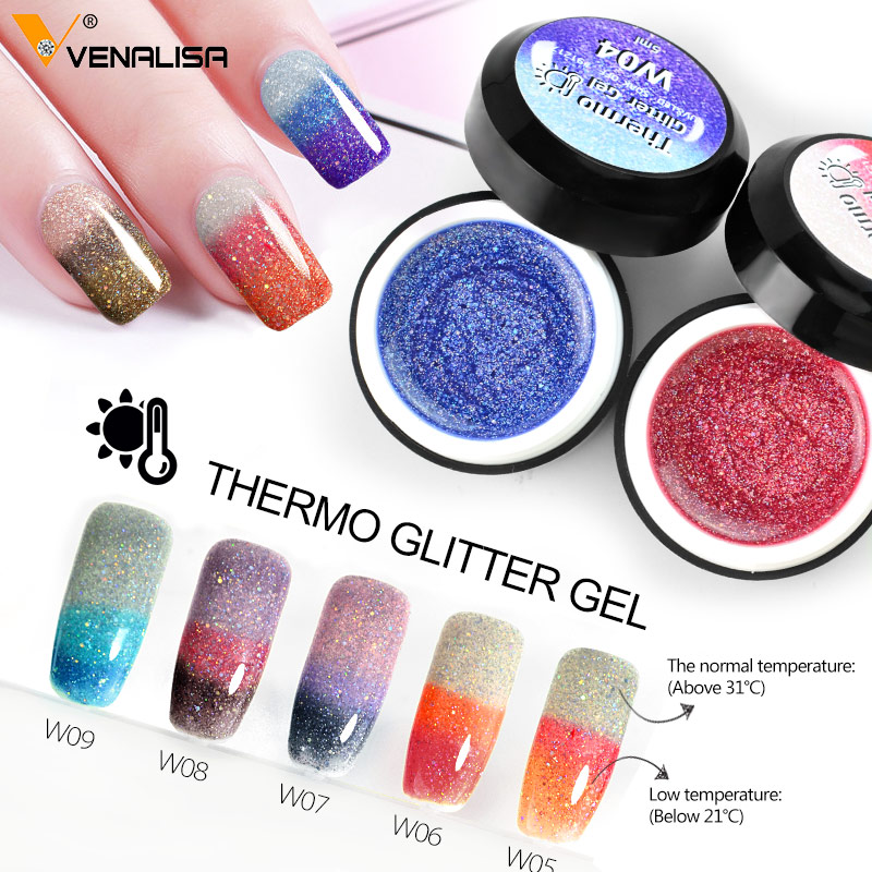 Venalisa Thermo Glitter Temperature Gel Polish Chameleon Color Changing Nail Polish Gel 5ml Canni Soak Off Gel
