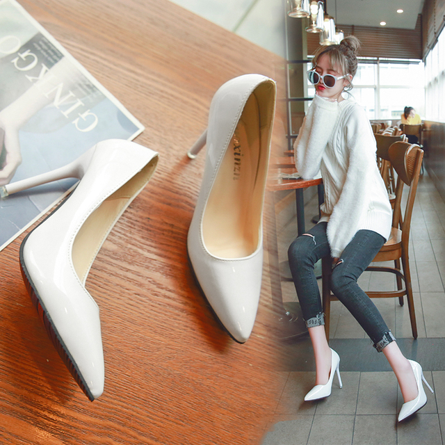 Elegant Thin Pointed High Heels Shoes Uncategorised Footwear Women color: apricot color|Black|Black flip flops|Blue|Gray|Pink|Red|White