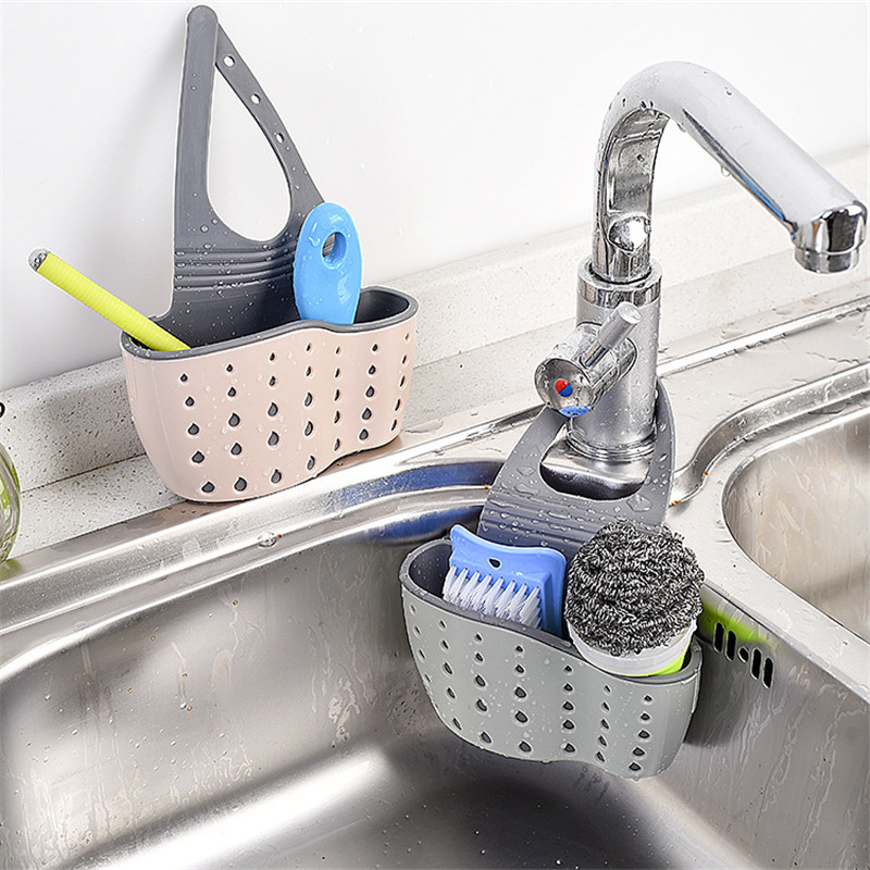 Kitchen Organizer Sponge Storage Hanging Double Basket Drainer Kitchen Sink Adjustable Snap Sink Rack Kitchen Holder Bathroom