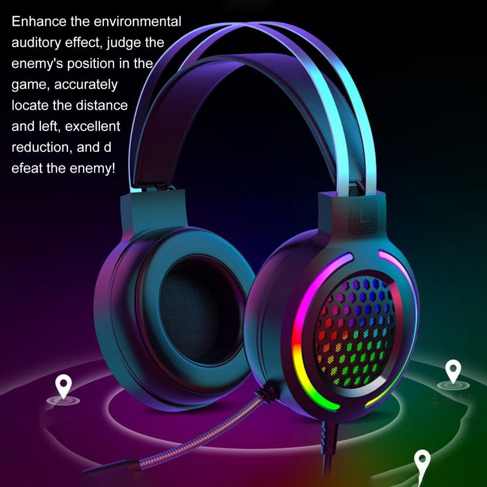 M12 Noise Reduction RGB Lighting 7.1 USB Wired Headphone Gaming Headset with Microphone for Desktop Computer Laptop