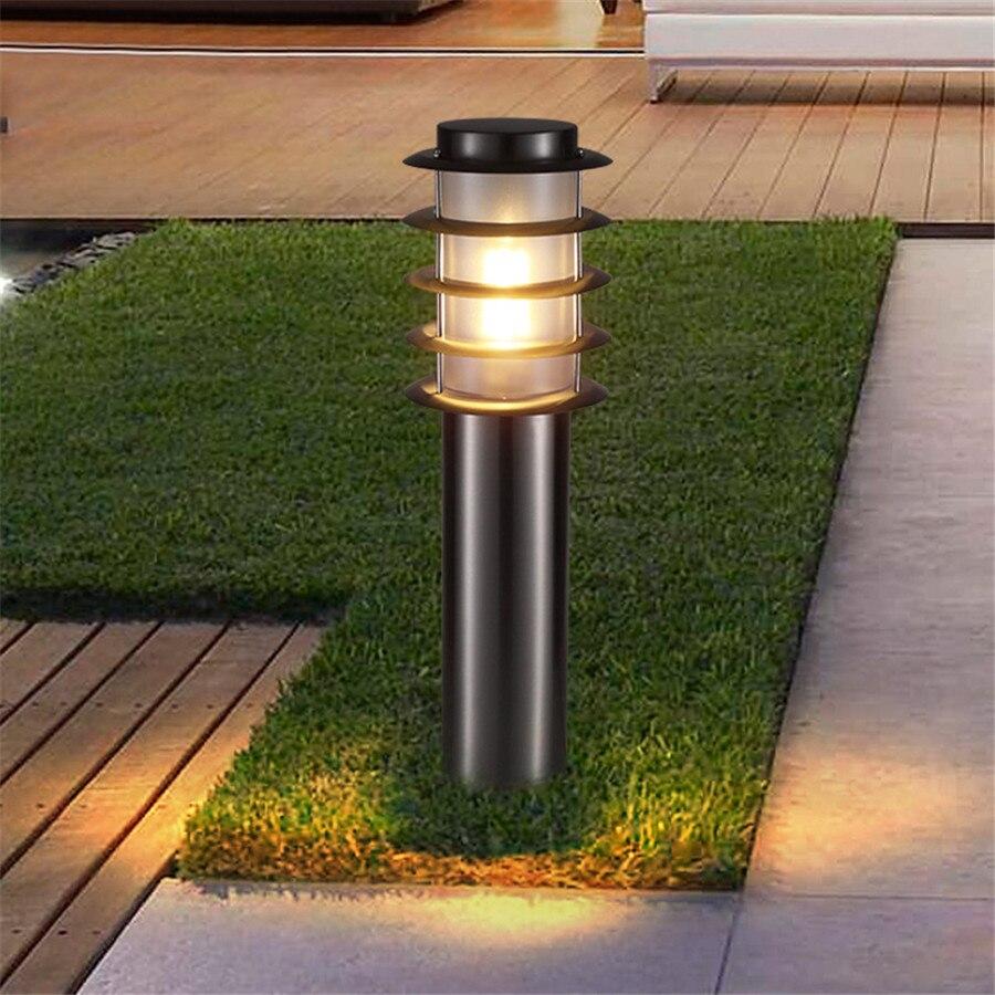thrisdar e27 aco inoxidavel lampada do gramado do jardim ao ar livre villa patio paisagem pos